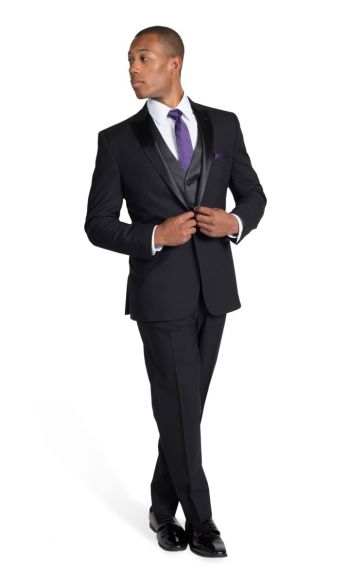 Black Peak with Stitch Edge Lapel Tuxedo