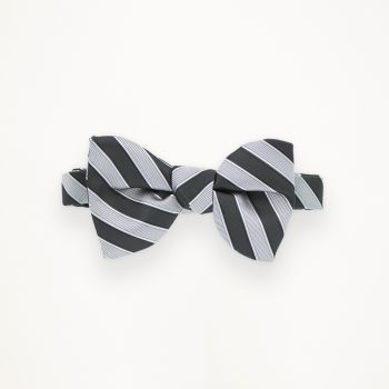 Black and Cement Striped Bow Tie