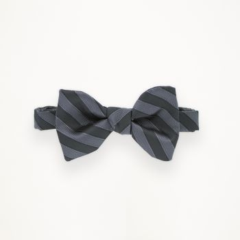 Black and Charcoal Striped Bow Tie