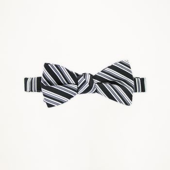 Black and White Striped Bow Tie