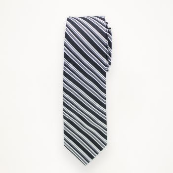Black and White Striped Long Tie