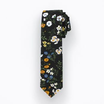 Black and Mustard Wild Flower Tie