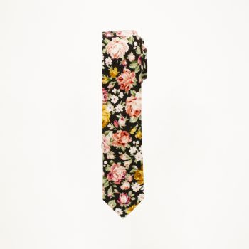 Black And Multi Colored Flower Print Tie
