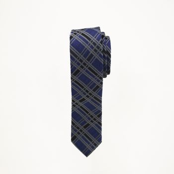 Royal And Black Plaid Tie