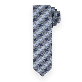 Blue Large Houndstooth Print Tie