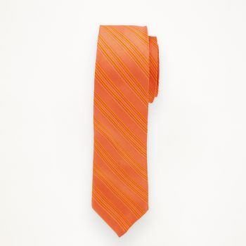 Burnt Orange Striped Long Tie