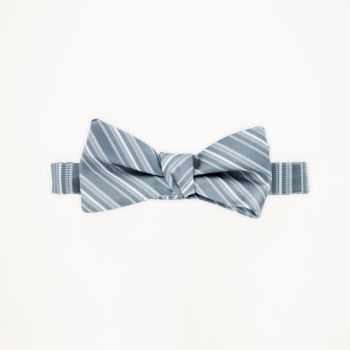 Charcoal Striped Bow Tie