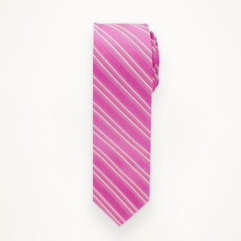 Fuchsia Striped Long Tie
