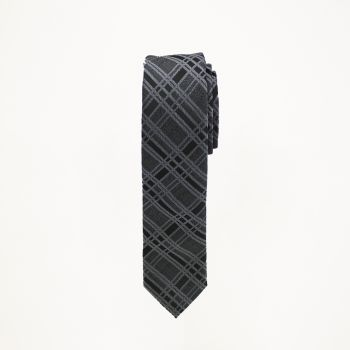 Charcoal Black Plaid Tie