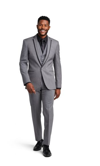 Grey with Black Framed Notch Lapel Suit