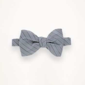 Heather Grey and Cement Striped Bow Tie