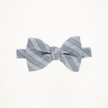 Heather Grey Striped Bow Tie