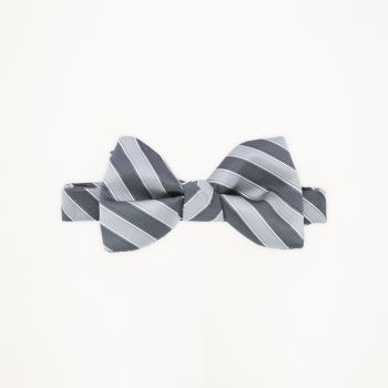 Charcoal Grey and Cement Striped Bow Tie