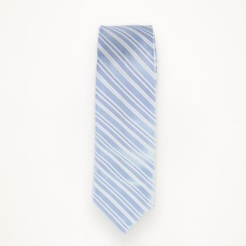 Light Blue Striped Long Tie