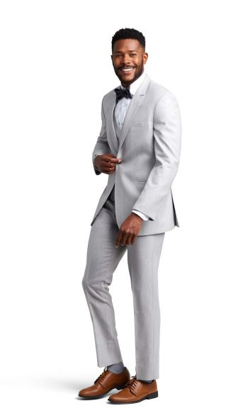 Light Grey Peak Lapel Suit
