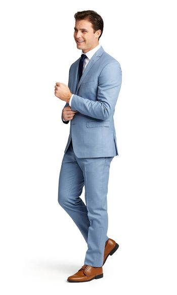 Light Blue Notch Lapel Suit