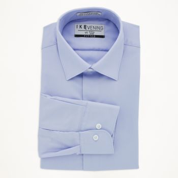Light Blue Cotton Laydown Collar Shirt