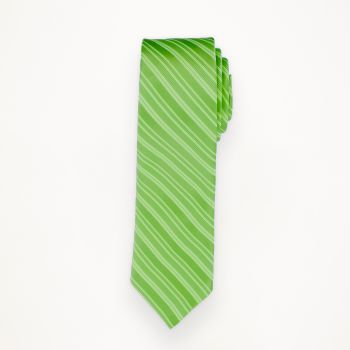Lime Striped Long Tie