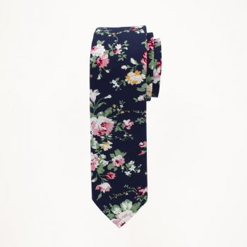Navy Blue And Pink Floral Tie