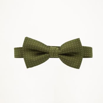 Olive Pindot Bow Tie