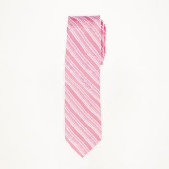 Pink Striped Long Tie