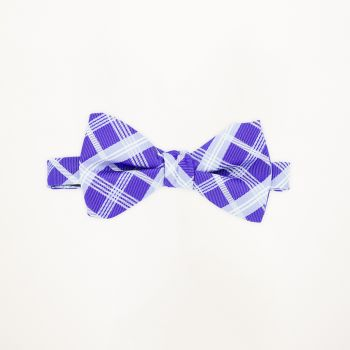 Purple Plaid Bow Tie