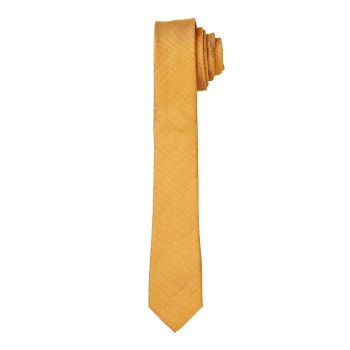 Saffron Matte Self Long Tie