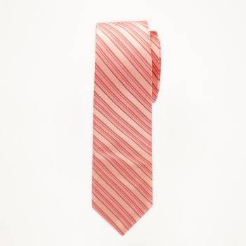 Salmon Striped Long Tie