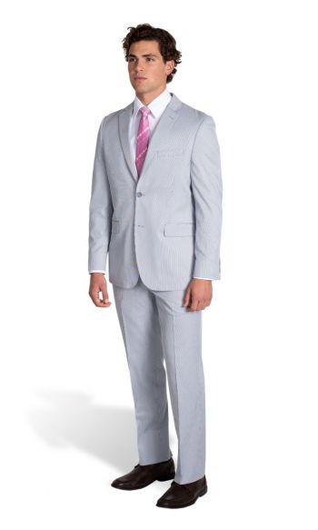 Blue Seersucker Slim Fit Suit (Seasonal Collection)