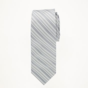 Silver Striped Long Tie