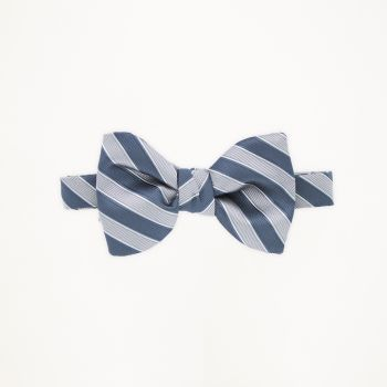 Slate Blue and Cement Striped Bow Tie