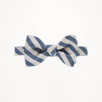 Slate Blue and Tan Striped Bow Tie