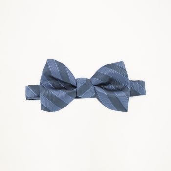 Slate Blue Striped Bow Tie