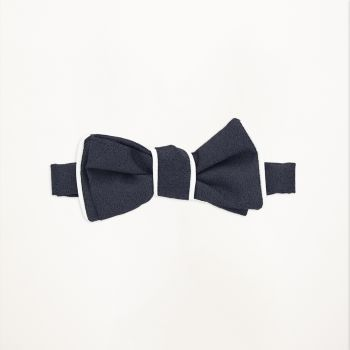Slate Blue Pipe Edge Bow Tie