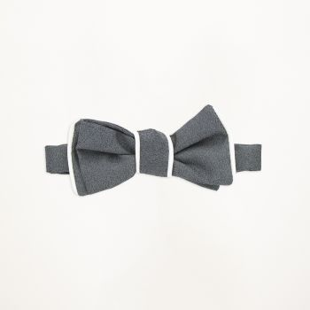 Steel Grey Pipe Edge Bow Tie