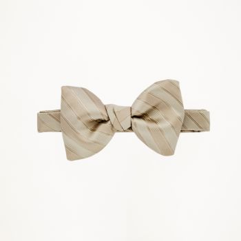 Tan Striped Bow Tie
