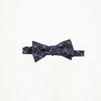 Navy And Burgundy Checkered Bow Tie