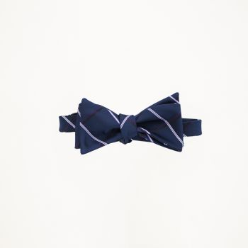 Navy With White Stripe Bow Tie