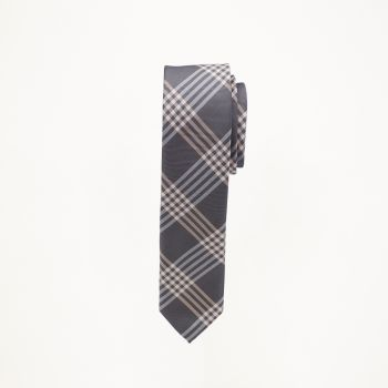 Grey And Peach Plaid Tie