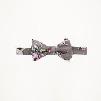 Grey And Pink Floral Bow Tie