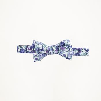 White, Blue, and Purple Floral Bow Tie