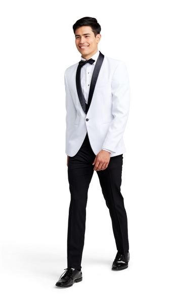 White with Black Shawl Lapel Tuxedo