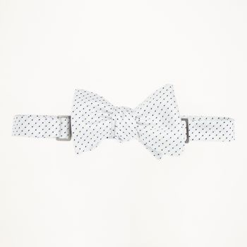 White With Black Dot Patterned Bow Tie