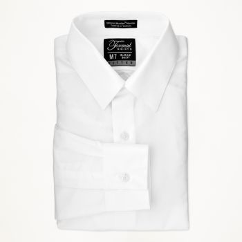 White Laydown Collar Shirt