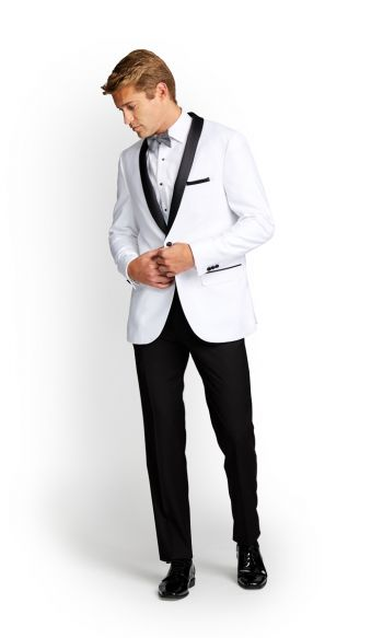 White With Black Shawl Slim Fit Tuxedo