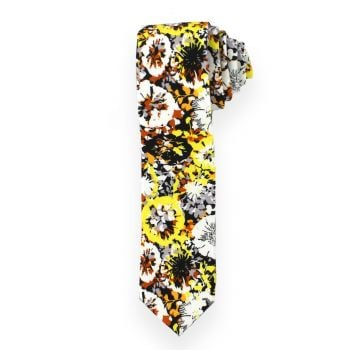 Yellow and Rust Large Floral Tie