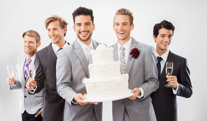 Greystone park and Mansion, Astudillo photography, Los Angeles wedding, same sex wedding, gay wedding, LGBT, frontiers magazine, Schultz world, Groom with cake