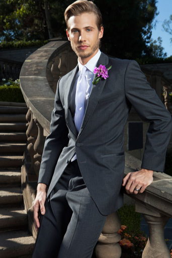 Greystone park and Mansion, Astudillo photography, Los Angeles wedding, same sex wedding, gay wedding, LGBT, frontiers magazine, Schultz world, steel grey allure suit on steps
