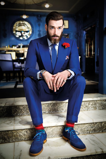 Navy is the new black, Navy tuxedo, midnight blue, classic, slim fit Navy Lorenzo, stand out, unique style, Skyfall, James Bond tuxedo, trendy, blue with red accents