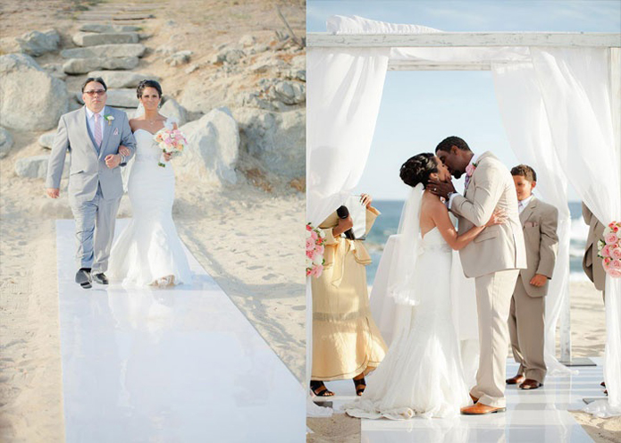 Tan suits, Tan catalina suit, How to plan a beach wedding, beach wedding attire: what's appropriate and what's not?, casual tuxedos: lots of options for farm, beach, and shabby chic weddings, if you are thinking about a destination but wondering how to plan a beach wedding, check out the images from this wedding, many brides ask us what style of beach wedding tuxedos look best, we usually recommend tan, or a lighter color suit, cabo wedding, destination wedding, cabo del sol golf club, Alvina Valenta wedding dress, blush pink, pink, romantic, DIY, soft elegance, timeless, travel theme, postcards, outdoor wedding, beach wedding, bride walking down aisle